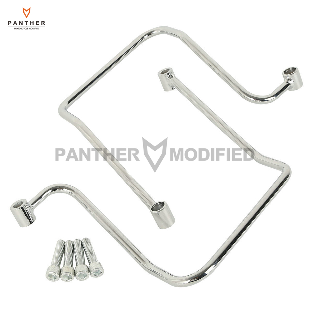 Chrome Motorcycle Saddlebag Support Brackets Case for Harley Dyna Fat Bob Wide Glide 2006-2017 triclicks saddlebag bracket support motorcycle saddle bag support bars mount brackets for harley sportster iron xl883n dyna fat