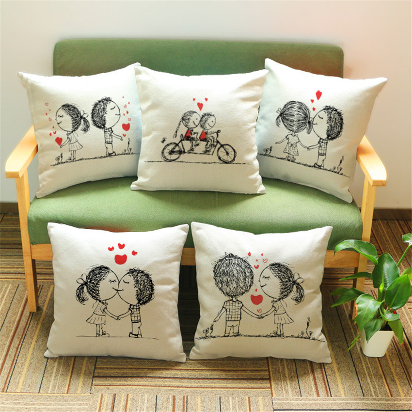 Sweet Couple Cushion Cover Home Decorative Pillows Case