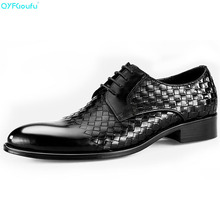 Genuine Leather Formal Shoes Men Oxford High Quality Italian Handmade Luxury Designers Weave Dress