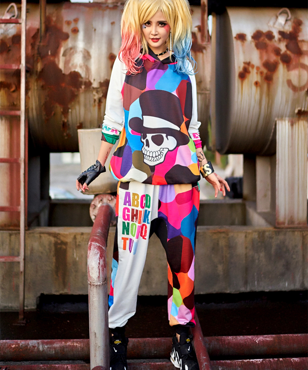 2018 New 2 Piece Set Women Clothing Set Fashion Cartoon Printed Hoodies Sweatshirt Set Streetwear Hip Hop Dance Clothes