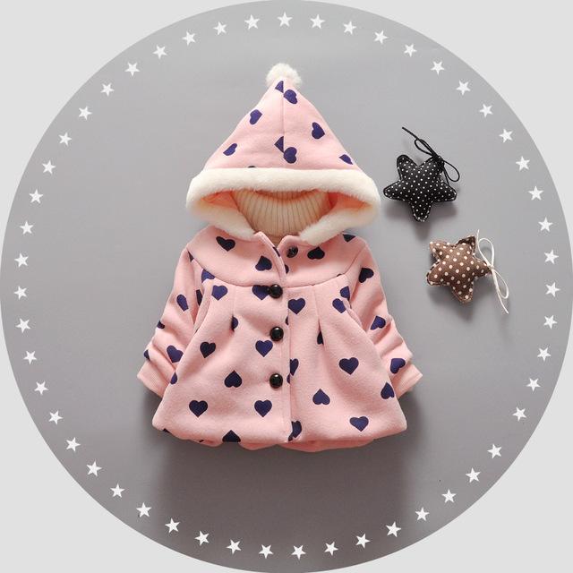 Casaco casaco de inverno jaqueta crianças arco dot menina dos desenhos animados do bebê crianças quentes outerwear luva cheia Casaco de inverno infantil para a menina