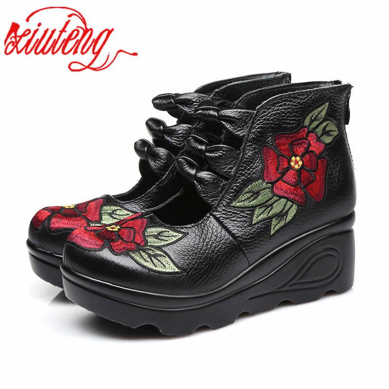 Xiuteng 2018 Kadın Çiçek andals Ayakkabı Eğim Rahat deri ayakkabı Moda Işlemeli Bayan Vintage Su Geçirmez platform ayakkabılar