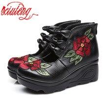Zapatos Xiuteng 2020 con flores y andales para mujer, zapatos informales de cuero, zapatos de moda bordados Vintage para mujer, zapatos con plataforma a prueba de agua