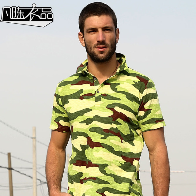 Free Shipping New men's Male fashion casual Lapel washing camouflage shirt cotton short sleeved POLO shirt military On Sale