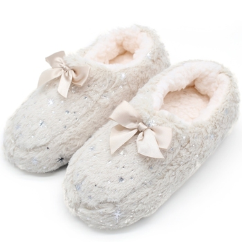 STONE VILLAGE Large Size Bow Snowflake Home Slippers Think Plush Warm Women Slippers Shoes Indoor Slippers Shoes Women 1
