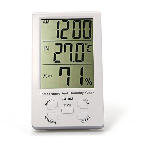 AYHF-LED Screen Digital Thermometer Hygrometer for Indoor Outdoor Garden Patio White
