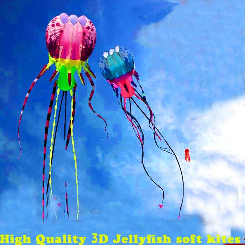Livraison gratuite de haute qualité nouvelle 3d cerf-volant méduses cerf-volant doux en nylon ripstop avec poignée ligne jouets en plein air grand kite surf poulpe