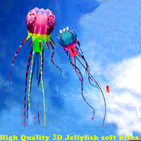 free shipping high quality new 3d kite jellyfish soft kite nylon ripstop with handle line outdoor toys large kite surf octopus