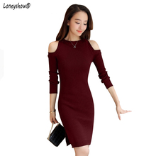 2018 Elegant Women Dress Autumn And Winter Sweater Dresses Slim O neck Long Knitted Dress Sexy Bodycon Robe Midi Girl dress