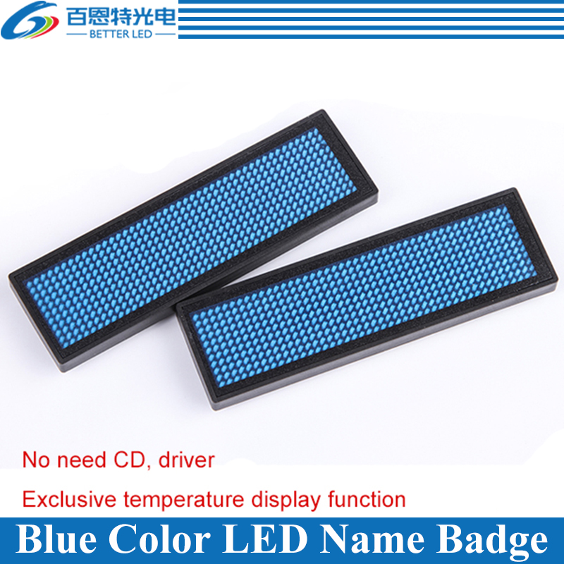48x12 Dots Blue Color Scrolling Message LED Name Badge,  Rechargeable LED Name Tag48x12 Dots Blue Color Scrolling Message LED Name Badge,  Rechargeable LED Name Tag