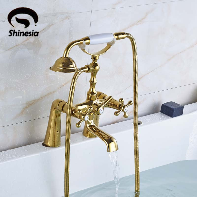 Newly Solid Brass Luxury Bathroom Tub Faucet Golden Polished Mixer Tap with Handheld Shower Dual Handles Deck Mounted polished chrome double cross handles wall mounted bathroom clawfoot bathtub tub faucet mixer tap w hand shower atf902