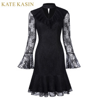 Kate Kasin Short Cocktail Dresses 2017 Black Long Sleeve Formal Prom Knee Length Lace Mermaid Cocktail