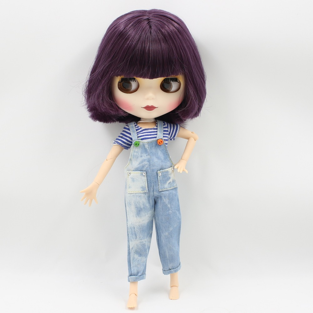 Neo Blythe Doll with Purple Hair, White Skin, Matte Face & Jointed Body 2