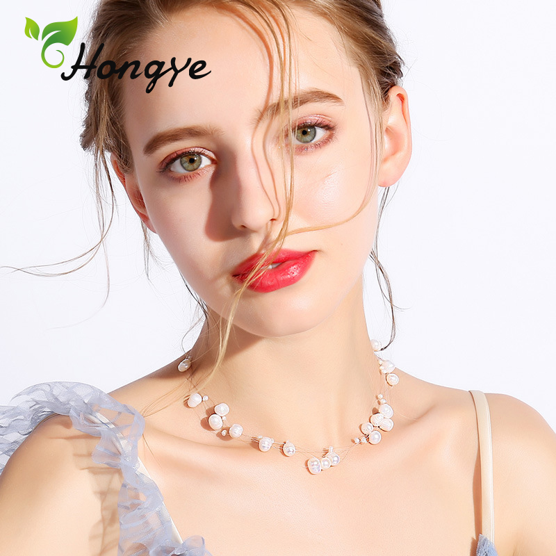 Hongye Women New Freshwater Pearl Long Necklace Jewelry Clavicular Chain Fish Wire Collar Accessories Pendant Necklace Gift