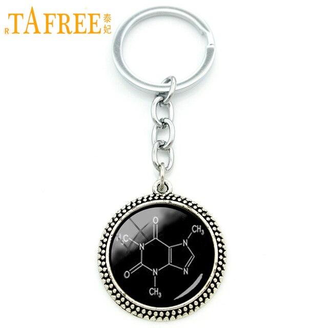 TAFREE Fashion women men jewelry key chain ring Chocolate Molecule Biology  Chemistry chemical formula art pendant 398f349e4