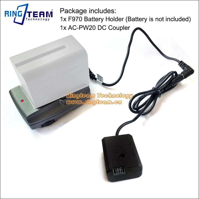 F970 batería de alimentación externa + AC-PW20 PW20 DC para Sony NEX 3 3N 5 6 NEX-7 7R 7 s A33 A55 A6300 A6500 Cámara