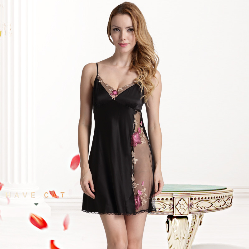 Sexy Silk Night Dress Sexy Nightgown Satin Nighties For Women Lingerie Nightwear Ladies Sleepwear Black Silk Night Slip Dress
