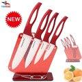 """FINDKING Belleza Regalos Zirconia rojo mango del Cuchillo de Cerámica con el titular de cocina Set 3 """"4"""" 5 """"6"""" pulgadas + Peeler + Holder cuchillo de cocina"""