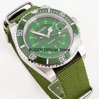 BLIGER 40mm Simples Dial Cerâmica Moldura Verde Nylon Strap Auto Data Vidro de Safira