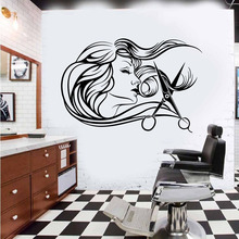 Beauty Hair Salon Woman Wall Decal Barber Shop Stylist Tools scissors Hairdressers Sticker Glass Window Vinyl