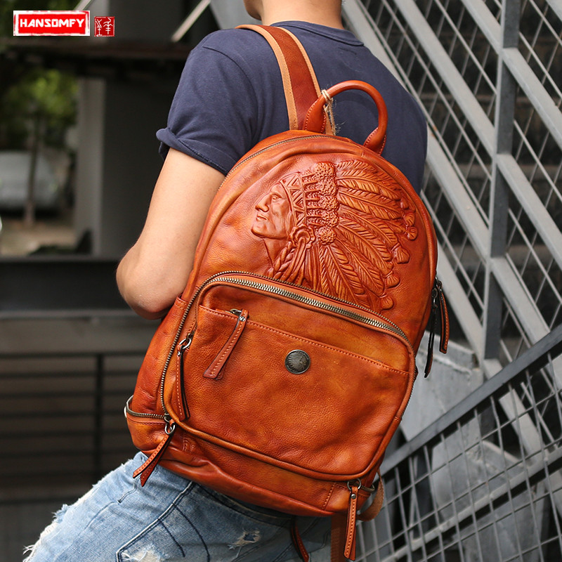 Original handmade retro genuine leather men backpack large capacity travel  bag tide male laptop shoulder bags ac71912f3e