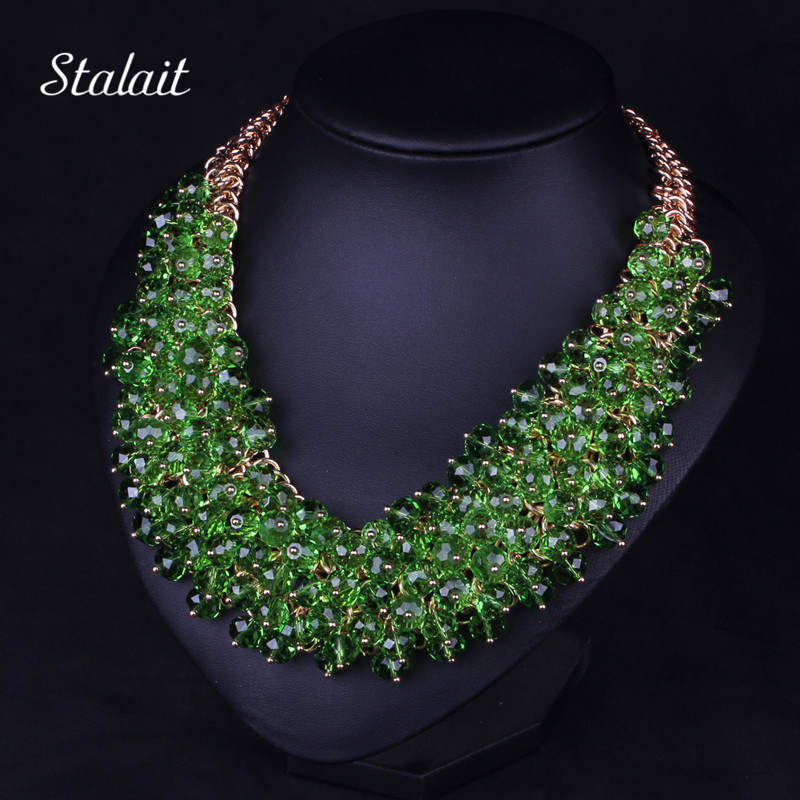 New Fashion Bohemian Green Big Chunky Necklace Jewelry For Women Multilayer African Beads Collar Collier Ethnic Choker Necklace hot handmade colourful resin ethnic style collier necklace