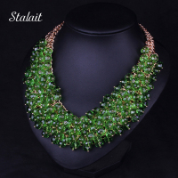 New Fashion Bohemian Green Big Chunky Necklace Jewelry For Women Multilayer African Beads Collar Collier Ethnic Choker Necklace