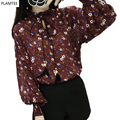 New 2017 Retro Floral Print Chiffon Shirt Female New Loose Lantern-Sleeve Women Shirt Spring Summer Wild Tassel Students Blouse