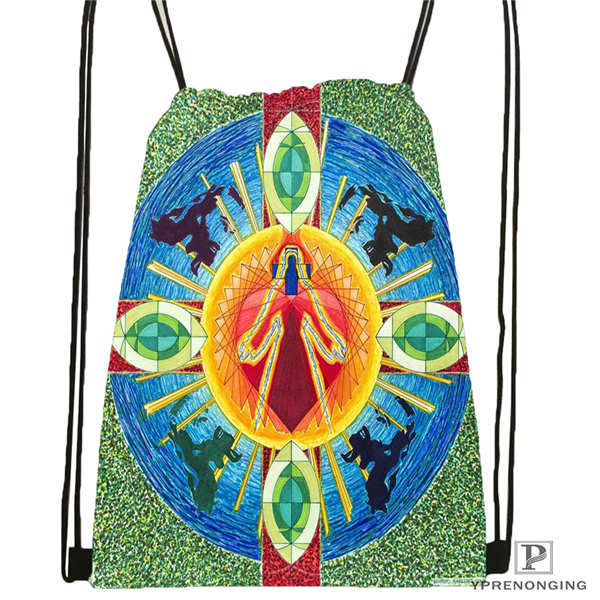 Custom Mandala El Laberinto De Rosa Drawstring Backpack Bag Cute Daypack Kids Satchel (Black Back) 31x40cm#20180611-02-99