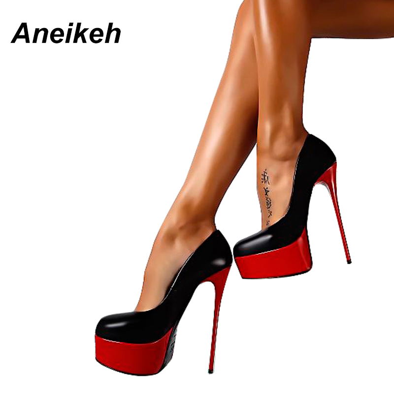 Aneikeh Spring & Autumn Woman Sexy Pumps Extreme High Heels Designer Shoes Platform Pumps Stiletto Female Valentine Shoes