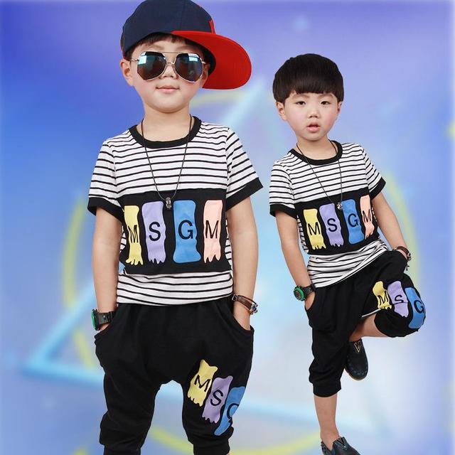 2016 мальчик летний костюм детский летний приток небольшой короткими рукавами спорта и отдыха двух частей мальчик