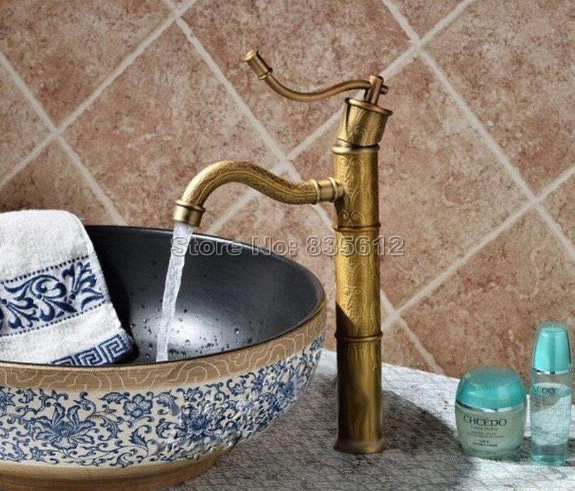 Deck Mounted Antique Brass Single Handle Single Hole Bathroom Basin /Vessel Sink Mixer Tap Flower Pattern Faucet  Wan014Deck Mounted Antique Brass Single Handle Single Hole Bathroom Basin /Vessel Sink Mixer Tap Flower Pattern Faucet  Wan014