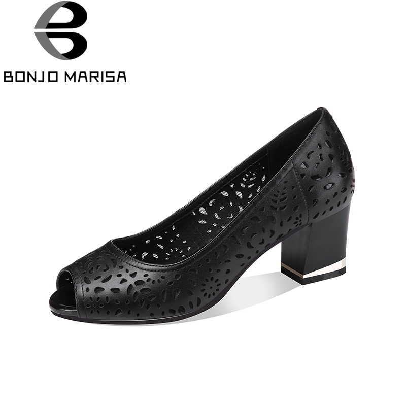 BONJOMARISA 2018 Cow Leather Fashion Peep Toe Women Pumps Shoes Woman Chunky Heel Slip On Black Woman Shoes Big Size 33-41 kindle paperwhite1 6 high resolution 300ppi displaywith built in light wi fi includes special offers