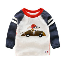 Kids Long-sleeve Cotton T-shirts Cartoon Cars 2017 Spring NewStyle Baby Boys O-neck Bottoming Shirts Kids Funny Casual Tees/Tops