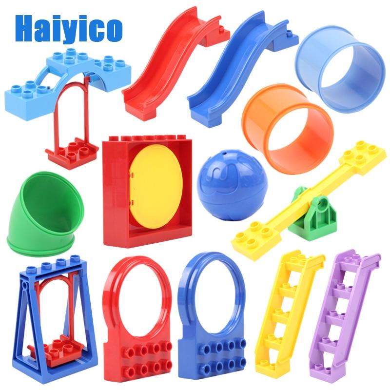 Классические большие строительные блоки Аксессуары Совместимые с кубиками Duplos Seesaw swing слайд-лестница трубка игровая площадка игрушки Детс...