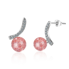 Everoyal Trendy Female Crystal Pink Earrings For Women Party Accessories Vintage Silver 925 Girls Stud Earring Jewelry Female стоимость
