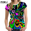 FORUDESIGNS 2018 New T Shirt Women Summer T Shirt 3D Ghost Printing Female T Shirts Bright