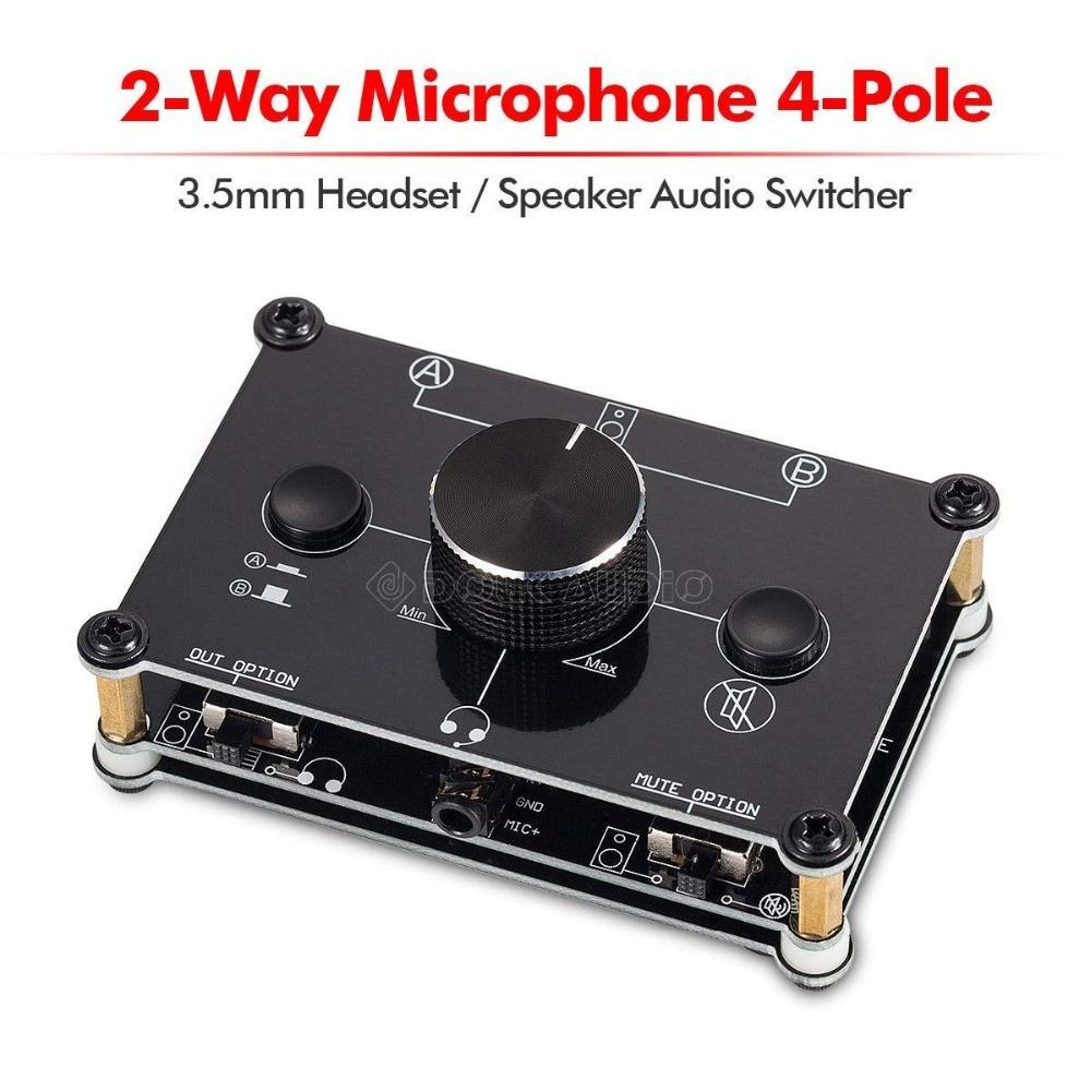 MC1024 2-Way Microphone Headset/Speaker MIC Audio Switch Hub Switcher 3.5mm 4-Pole A&B Selector