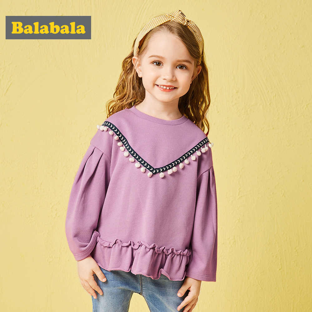 Balabala פעוט ילדה פאף שרוולים סווטשירט עם שולי קפלים ילדי ילדים מצולעים צווארון עגול סווטשירט למעלה עם מיני פום Poms