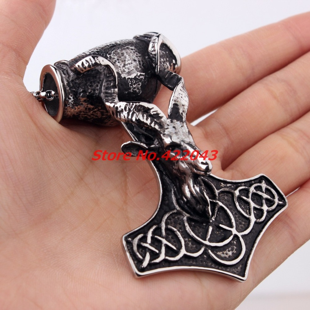 Gothic Heavy Huge Biker Stainless Steel Men's Biker sheep head Thor's Silver Hammer Mjolnir Necklace Pendant Chain, High Quality