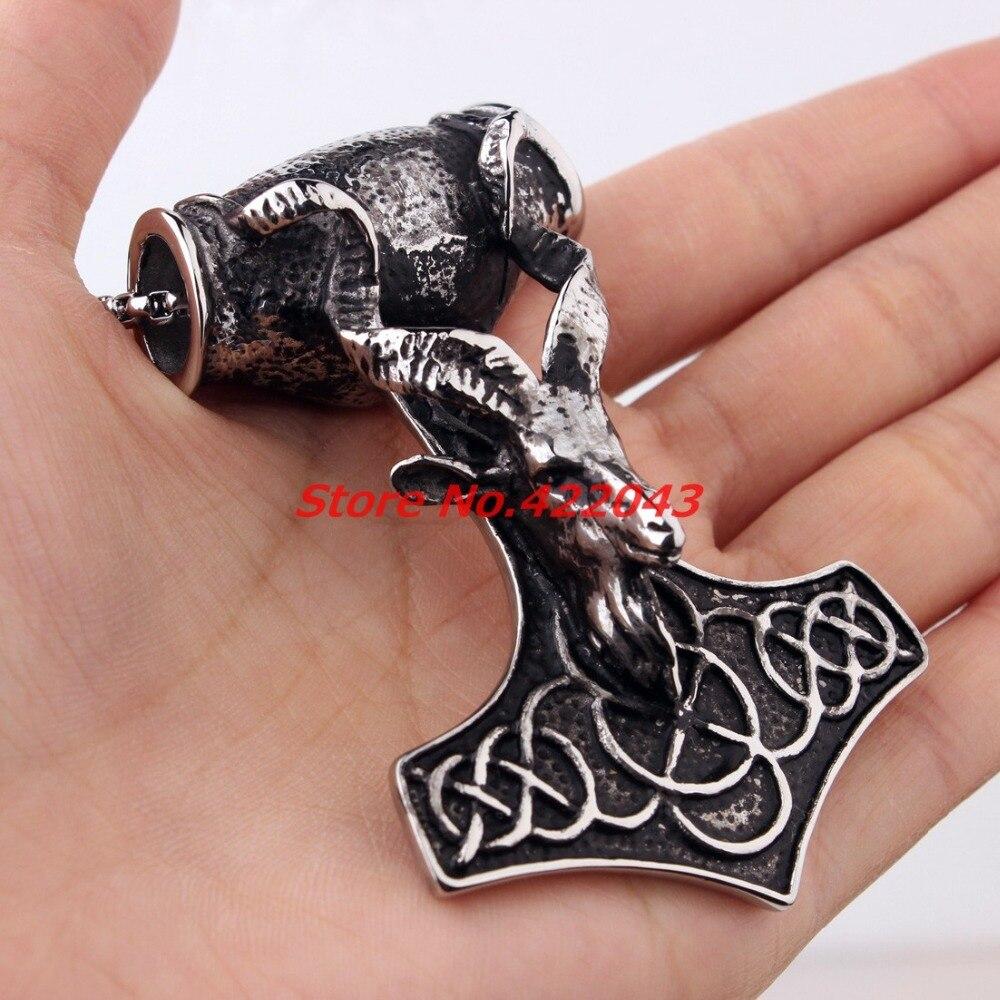 Gothic Heavy Huge Biker Stainless Steel Men's Biker sheep head Thor's Silver Hammer Mjolnir Necklace Pendant Chain, High Quality