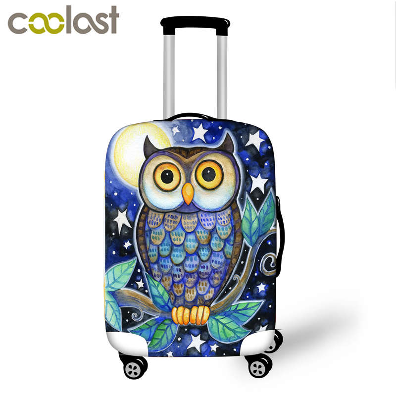 Cute Owl Luggage Cover For Traveling Waterproof Anti-dust Suitcase Cover For 18-32 Inch Trolley Case Elastic Protective Covers