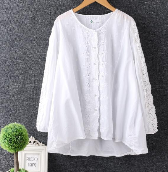 lacing embroidery patchwork O neck long sleeve white shirt top 2017 spring