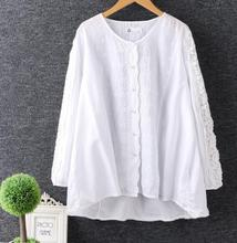 lacing embroidery patchwork O-neck  long sleeve white shirt top 2017 spring