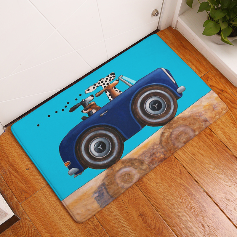 Cartoon Style Dog Print Carpets Anti-slip Floor Mat Outdoor Rugs Animal Front Door Mats