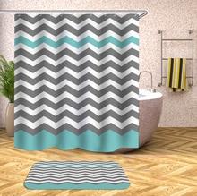 Wavy Stripes Bathroom Shower Curtain Geometric Printed Waterproof Bath Curtains for Bathtub Bathing Cover Large Wide 12pcs Hooks