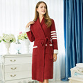 Women's winter plush Bathrobes solid color luxury home warm bathrobe indoor clothing night robe