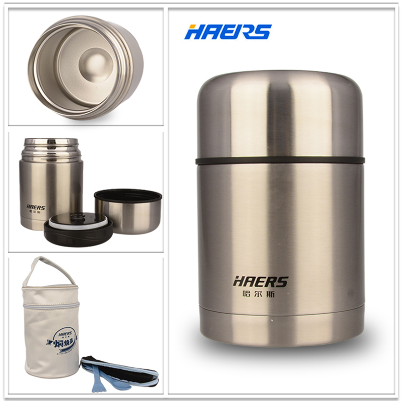 Haers 750ml Insulated Food Jar With Bag Double Stainless Steel Insulated Hot Food Thermos Lunch Box