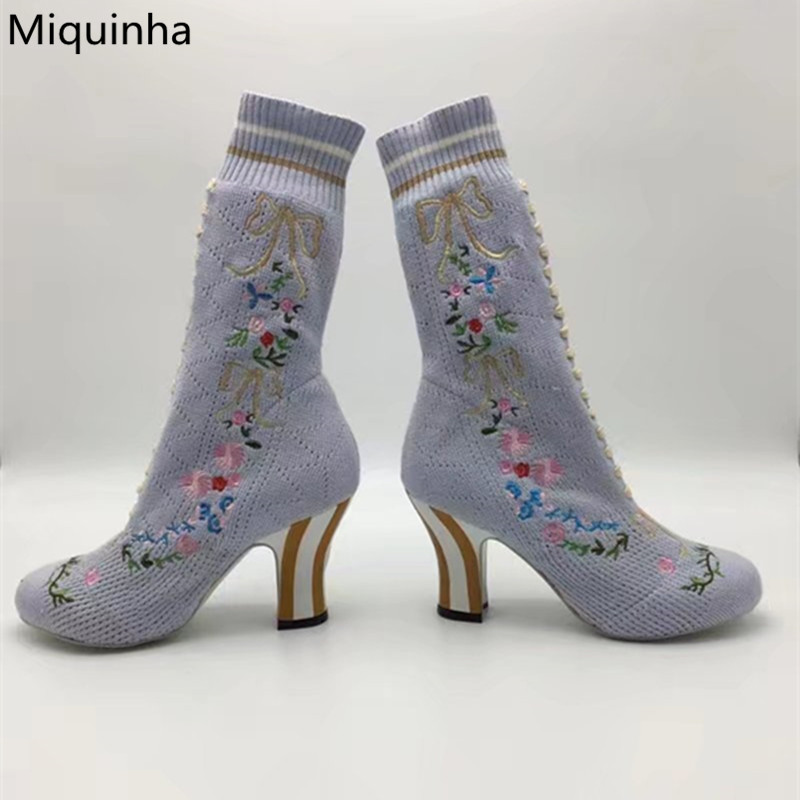 где купить Fashion Women Runways Booties Stretch Knitted Embroidery Floral Striped Heels Sock Boots Bow Tie Slip-On Ankle Boots Shoes Woman по лучшей цене