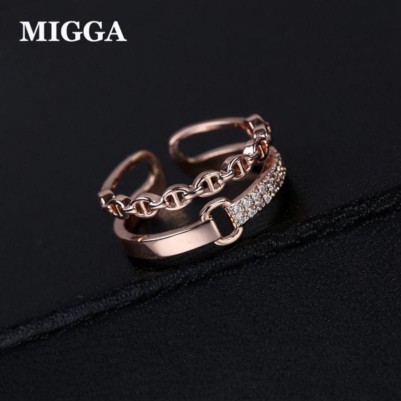 MIGGA 2018 nyitó design Dupla rétegű divatgyűrű üreges geometriai női gyűrűk köbös cirkónium ékszerek